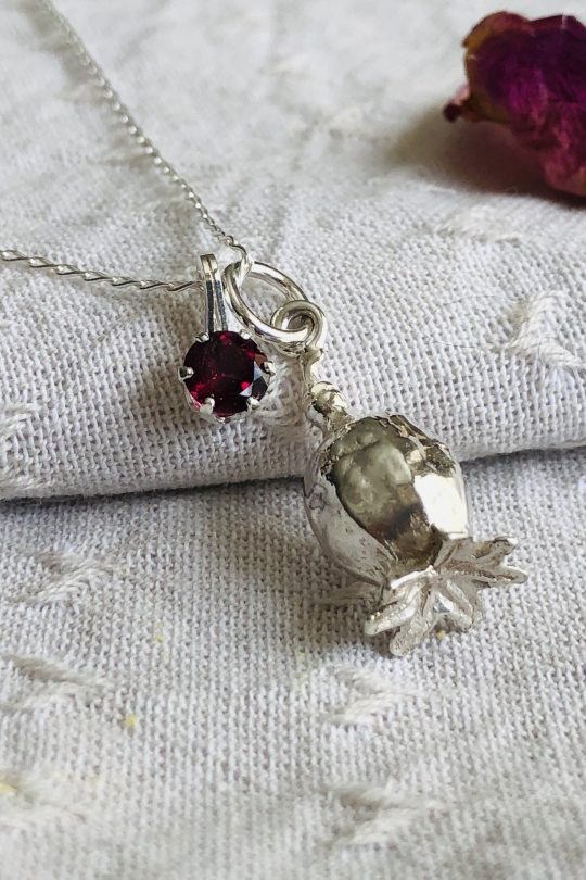 botanical silver poppy necklace with birthstone