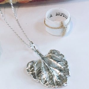 botanical sterling silver leaf necklace