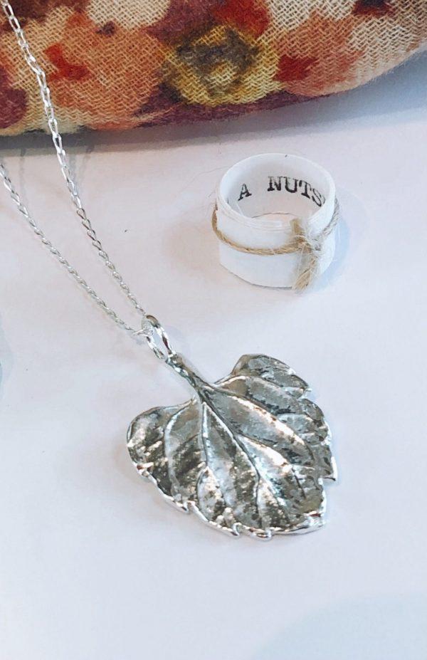 botanical sterling silver leaf necklace