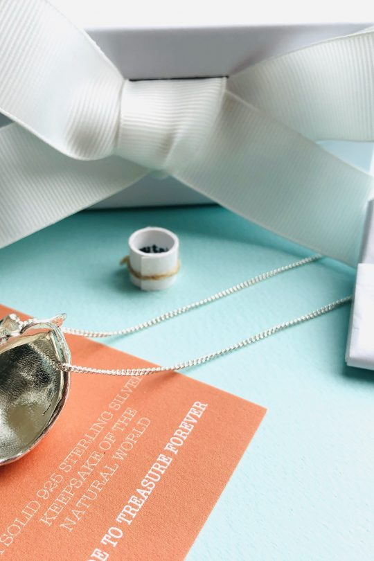 luxury magnetic white gift box from silver nutshell jewellery